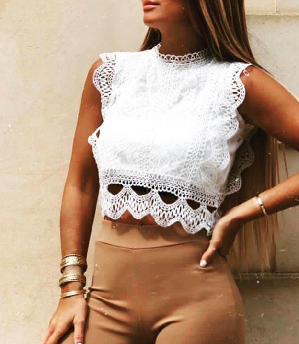Vêtement pour femme à Toulouse et le top dentelle